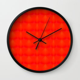 Mother of pearl pattern of red hearts and stripes on a ruby background. Wall Clock