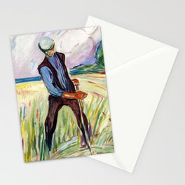 The Haymaker by Edvard Munch Stationery Cards