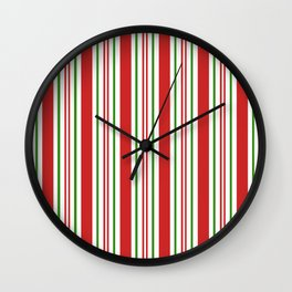Red Green and White Candy Cane Stripes Thick and Thin Vertical Lines, Festive Christmas Wall Clock