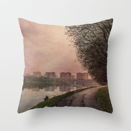 Fisherman (stylized watercolor) Throw Pillow