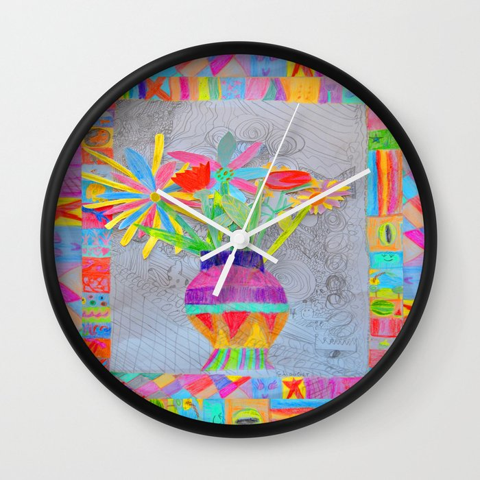 Flower Vase Kids Painting 3d Collage Wall Clock By Azima Society6