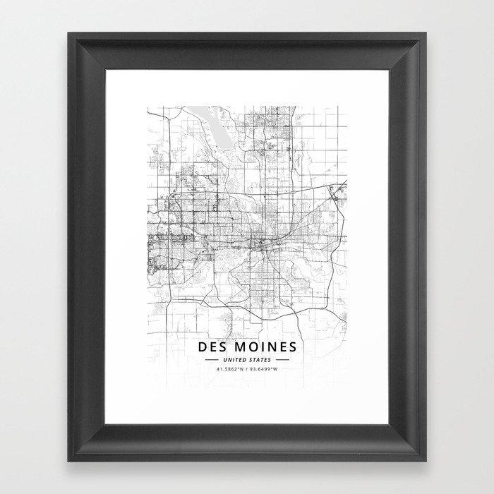Des Moines, United States - Light Map Gerahmter Kunstdruck