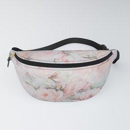 Vintage romantic blush pink teal bohemian roses floral Fanny Pack