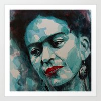 frida kahlo Art Prints featuring Frida Kahlo by Paul Lovering Watercolors