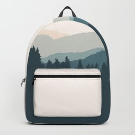 Daybreak - Abstract Mountain View Landscape  (Pink/ Green/ Blue) Backpack