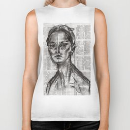 Alert - Charcoal on Newspaper Figure Drawing Biker Tank