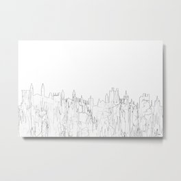 Cambridge, UK Skyline B&W - Thin Line Metal Print