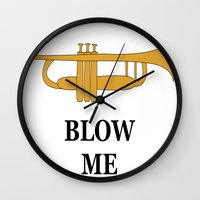 trumpet Wall Clocks featuring Trumpet by Laura Maria Designs