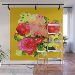 Summer Yellow Watercolor Roses Print Wall Mural