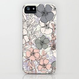 Flower vintage design with wild roses in english style iPhone Case