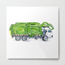 Garbage truck print Trash truck Kids room wall decor painting watercolour ink green Art Illustration boy girl car vehicle Nursery Colorful Metal Print