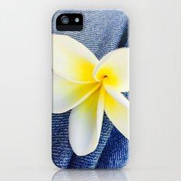 Denim Frangipani Natural Light iPhone Case