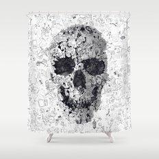 Doodle Skull BW Shower Curtain