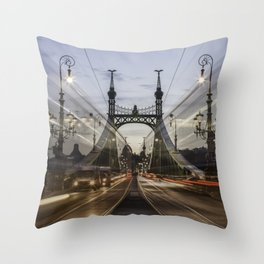Budapest traffic Throw Pillow