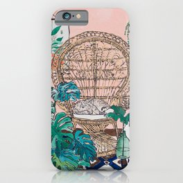 Napping Tabby Cat in Cane Peacock Chair in Tropical Jungle Room iPhone Case