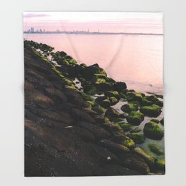 Green Stones and Skyline Throw Blanket
