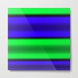 Green & Blue Horizontal Stripes Metal Print
