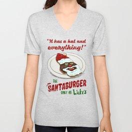Santa Burger Unisex V-Neck