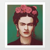 frida Art Prints featuring Frida by ravynka