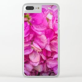 Wet Pink Flowers Clear iPhone Case