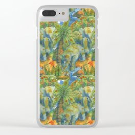 africa pattern elephant Clear iPhone Case
