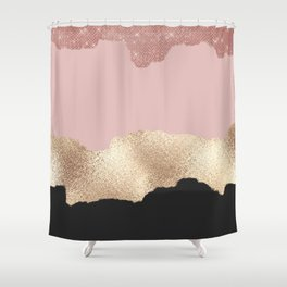 Rose Gold Glitter Black Pink Abstract Girly Art Shower Curtain