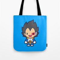vegeta Tote Bags featuring FunSized Vegeta by Papyroo