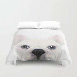 French bulldog white Dog illustration original painting print Duvet Cover