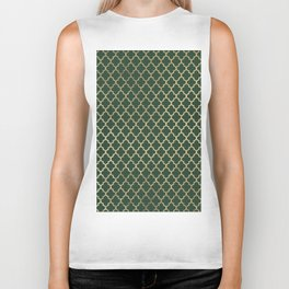 Forest green faux gold stylish moroccan quatrefoil Biker Tank