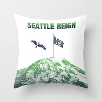 seahawks Throw Pillows featuring SEATTLE REIGN by Brandon sawyer