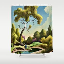 Classical Masterpiece 'Clay Country Farm' by Thomas Hart Benton Shower Curtain