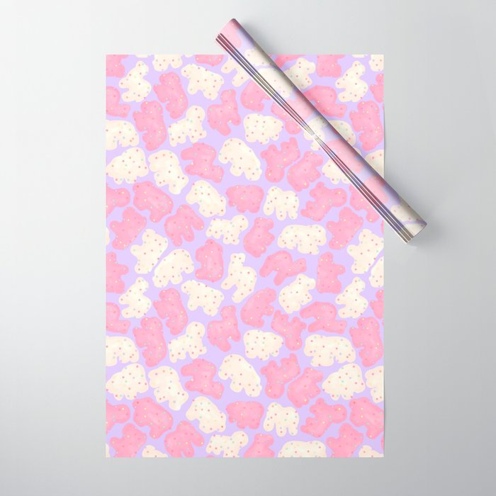 Frosted Animal Cookies On Lilac Wrapping Paper By Paisleydrawrs