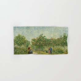 Garden with Courting Couples - Square Saint-Pierre by Vincent van Gogh Hand & Bath Towel