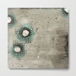 Sepia Circles Right Metal Print