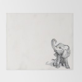 tiny elephant sitting in the corner Throw Blanket