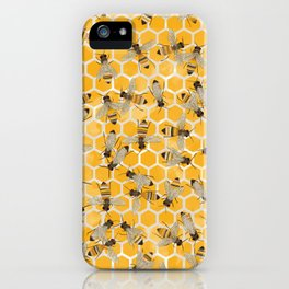 Bees on Honeycomb iPhone Case