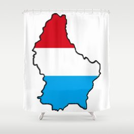 Luxembourg Map with Luxembourger Flag Shower Curtain