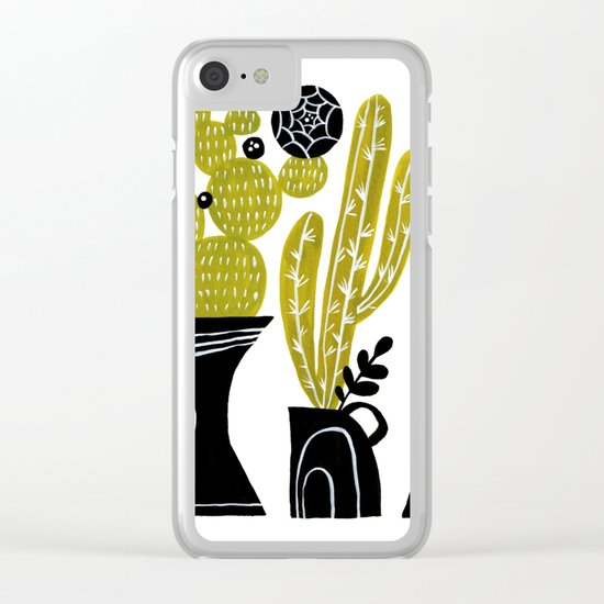 GREEN AND BLACK CACTUS Clear iPhone Case