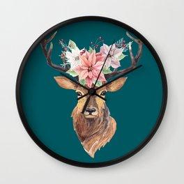Winter Deer Teal Wall Clock