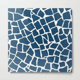 Mosaic Zoom Navy Metal Print