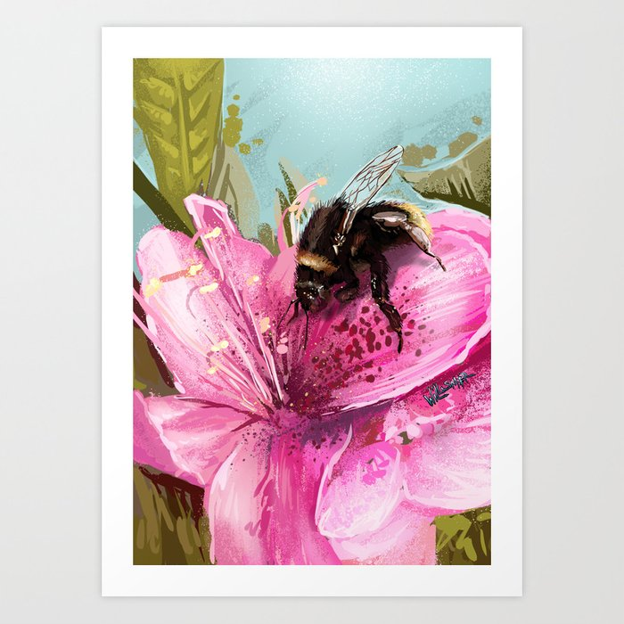Bee on flower 17 Art Print