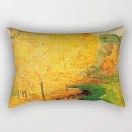 Classical Masterpiece 'By the Stream - Autumn' by Paul Gauguin Rectangular Pillow