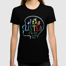 listen to the voices in your head.. inside out Womens Fitted Tee Black SMALL