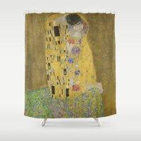 gustav klimt Shower Curtains featuring The Kiss - Gustav Klimt by Elegant Chaos Gallery