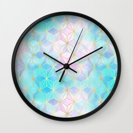 Iridescent Glass Geometric Pattern Wall Clock