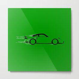 Fast Green Car Metal Print