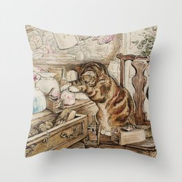 Tom Kitten looking for mice Throw Pillow