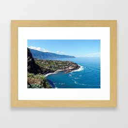 Aerial photograph of a seaside Madeira community Framed Art Print