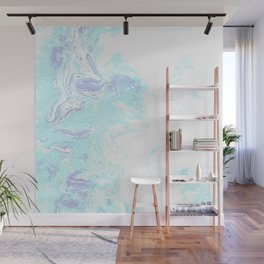 Blue & White Cool Abstract Print Pattern Wall Mural
