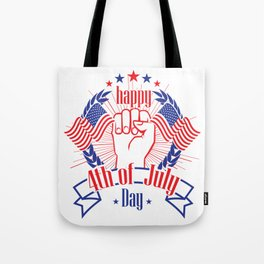 Happy 4th of July Freedom Hand & USA flag Tote Bag